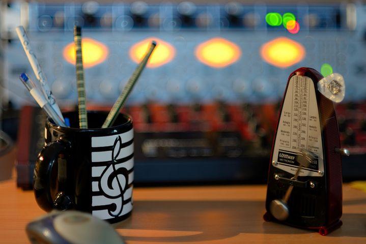 Metronome, Clock, Sound Studio, Work Table, Music