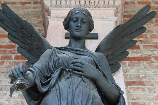 Angel, Rose, Statue, Give, Cemetery, Old