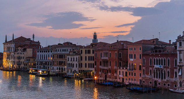Venice, Italy, Architecture, Sunset, Grand Canal, Boats