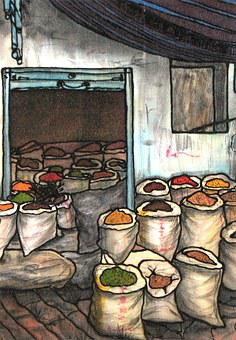 Silk Painting, Painting, Market, Spices, Bag, Silk