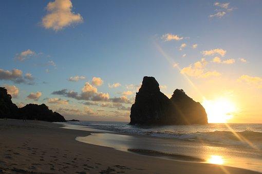 Sunset, Noronha, Fernando De Noronha, Beach, Mar