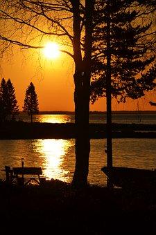 Sunrise, Lake, Coast, Boat, Morning, Norrbotten