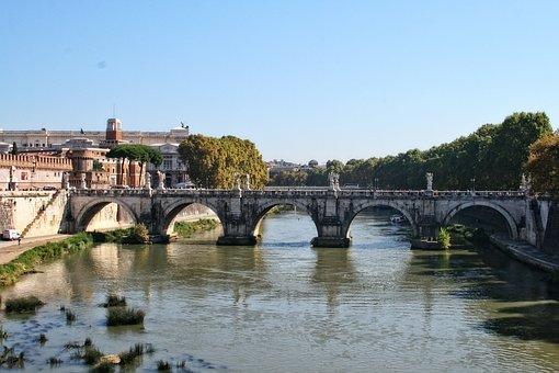 Italy, Rome, Tiber, Bridge Holy Angel