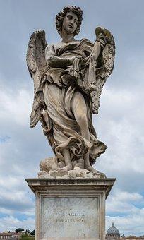 Angel, Statue, Stone, Bridge, Tiber, Rome, Italy