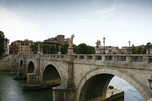 Rome, Italy, Bridge Of St Angel, Angel, Historical