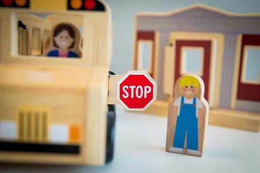 Stop, School, School Bus, Stop Sign, Bus Stop, Children