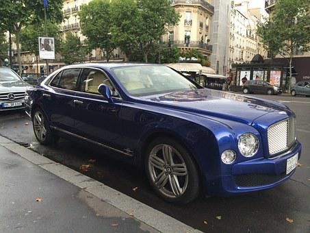 Bentley, Car, Blue, Paris, Saint-germain, France