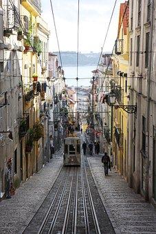 Portugal, Lisbon, Center, City, Road, Via, Trolley Bus