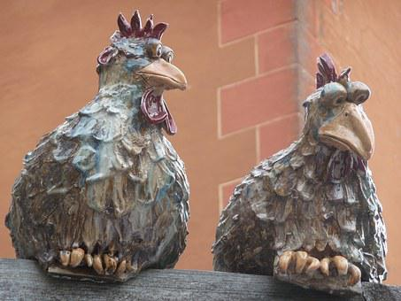Ceramic, Chickens, Wall, Garden Figurines, Decoration