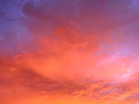 Sky, Red, Orange, Purple, Clouds, Sunset, Blue, Weather