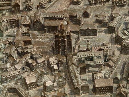 Constance, Map, Metal Plate, Bronze Relief, Relief