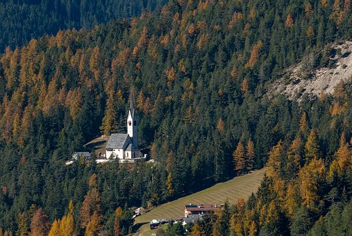 Forest, Autumn, Church, St Jacob, Nature, Fall Color