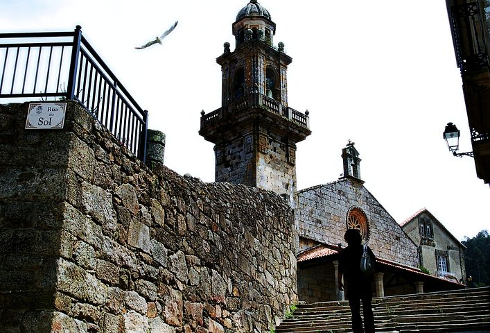 Galicia, Seagulls, Church, Architecture, Flight, Peace