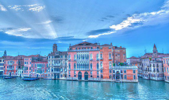 Venice, Italy, Architecture, Sun Rays, Clouds