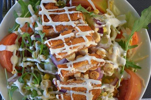 Caesar Salad, Salad, Chicken, Lettuce, Tomato