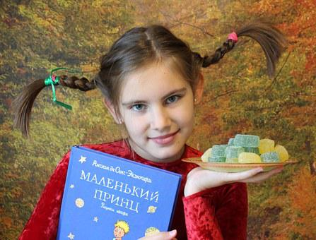 Girl, Pigtails, Peppy, Book, Marmalade, Invitation