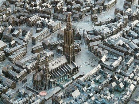 Relief, Map, Ulm Cathedral, Münster, Ulm, Metal Plate