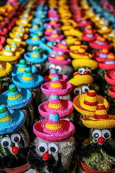 Cactus, Mexico, Hats, Colorful, Color, Sombrero