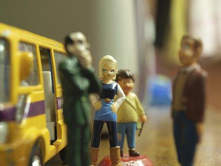 Toy, Miniature, Waiting, Bus Stop, Public Transport