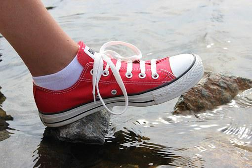 Outdoors, Converse Shoes, Sneakers, Feet, Red, Water