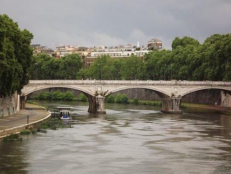 Rome, Tiber, Ponte St Angelo, River, Bridge Of Angels