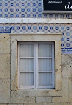 Window, Tiles, Portugal, Portuguese, Tiled, Blue Tiles