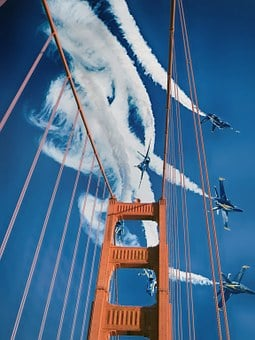 Bridge, Blue Angels, Sky, Jets, Air Show, San Francisco