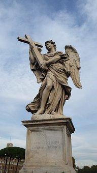 Angel, Angels Bridge, Rome, Statue, Sculpture