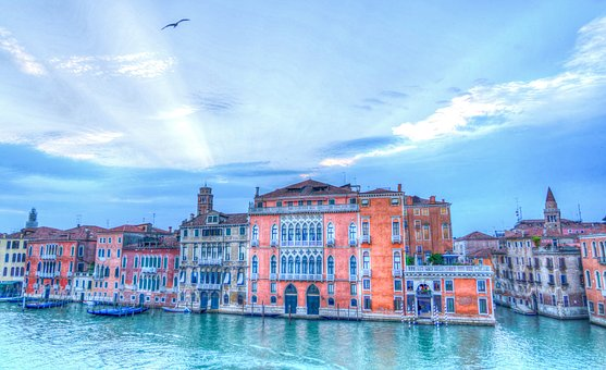 Venice, Italy, Architecture, Sun Rays, Clouds, Evening