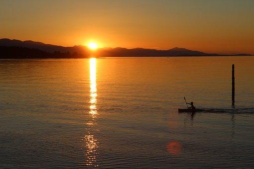 Sunset, Water, Ocean, Sea, Beach, Qualicum, Canada