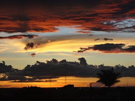 Sunshine, Brasilia, Céu, Por, Do, Sol, Sky, Sunset
