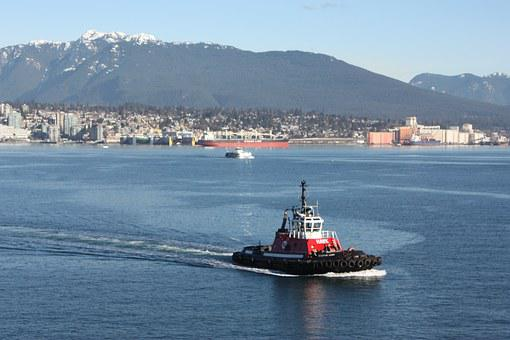 Tugboat, Blue, Harbor, North Vancouver, Burrard Inlet