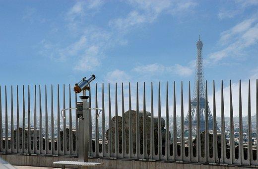 Paris, Fence, Eiffel Tower, View, Travel, Binoculars