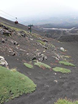 Cableway, Etna, Volcano, Summer, Landscape, Foot