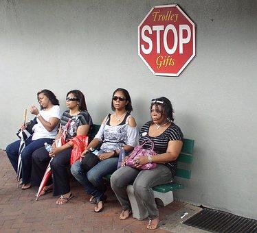 Women, Wait, Stop, Sit, Human, Bus Stop, Waiting Time