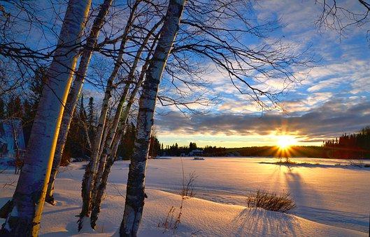 Winter Landscape, Sunset, Winter, Twilight, Nature
