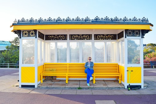 Bench, Bus Stop, Yellow, People, Sky, Sunny, Portsmouth