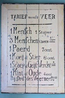 Price List, Antique, Ferry, Fare, Wine Harvest