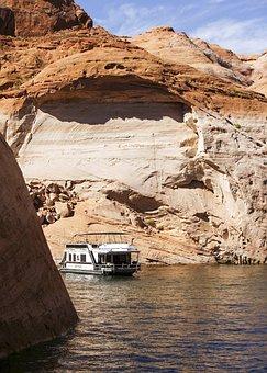 Lake Powell, Water Reservoir, Arizona, Usa, Red, Rocks