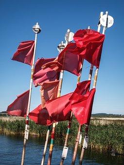 Bay, Sea, Flags, Reed, Fishing, Signalflag, Signal