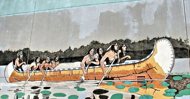 Wall Mural, Native Indian Canoe, Boat, Building Art