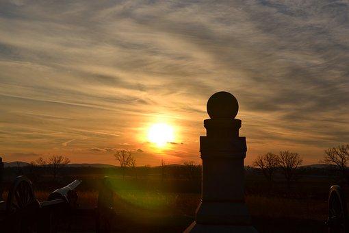 Sunset, Battlefield, Battle, American, History, Civil