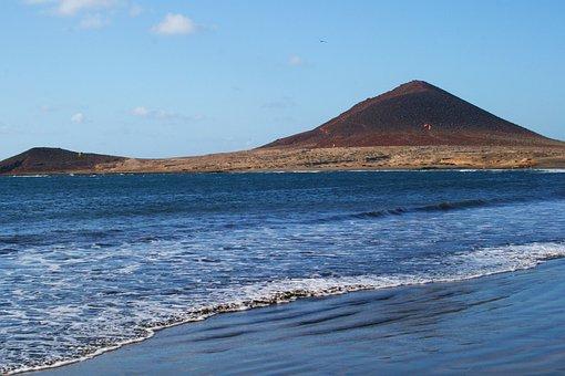 Tenerife, El Medano, Montana Roja, Sea, Canary Islands