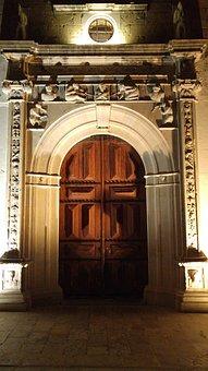 Church, Door, Night, Arc, Portugal, Moncarapacho