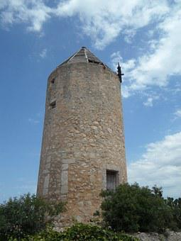 Old, Old Mill, Windmill, Landmark, Mallorca