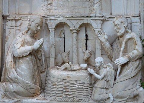 Nativity Scene, Crib, Stall, Joseph, Maria, Silhouettes