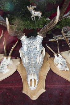 Deer Antler, Decorated, Swarovski Beads, Crystal