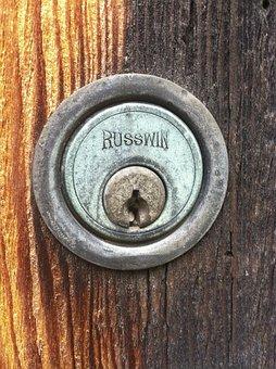Lock, Antique, Vintage, Keyhole, Russwin