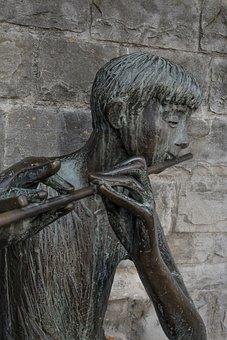 Statue, Bronze Statue, Musical Instrument, Flute Player