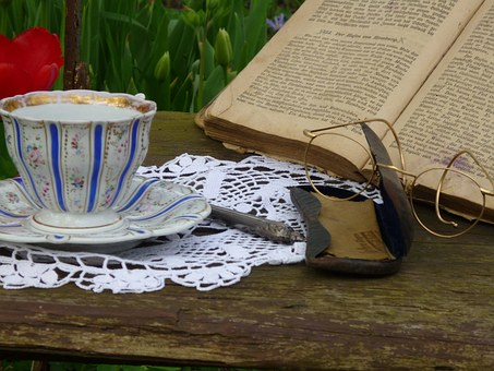 Cup, Glasses, Book, Old Chair, Builds, Porcelain